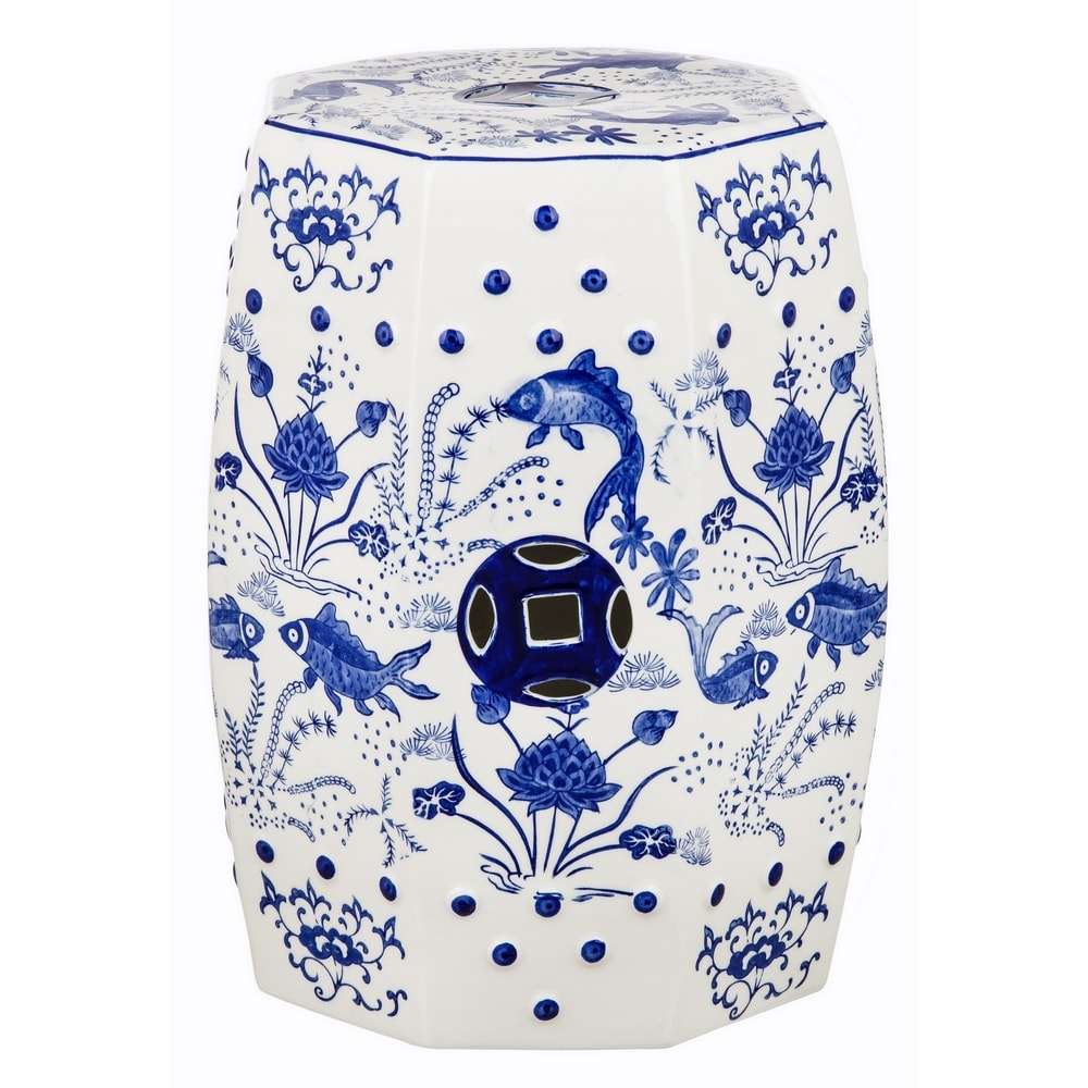 Safavieh Cloud 9 Chinoiserie Blue Koi Ceramic Decorative Garden Stool In Renee Porcelain Garden Stools (View 16 of 25)