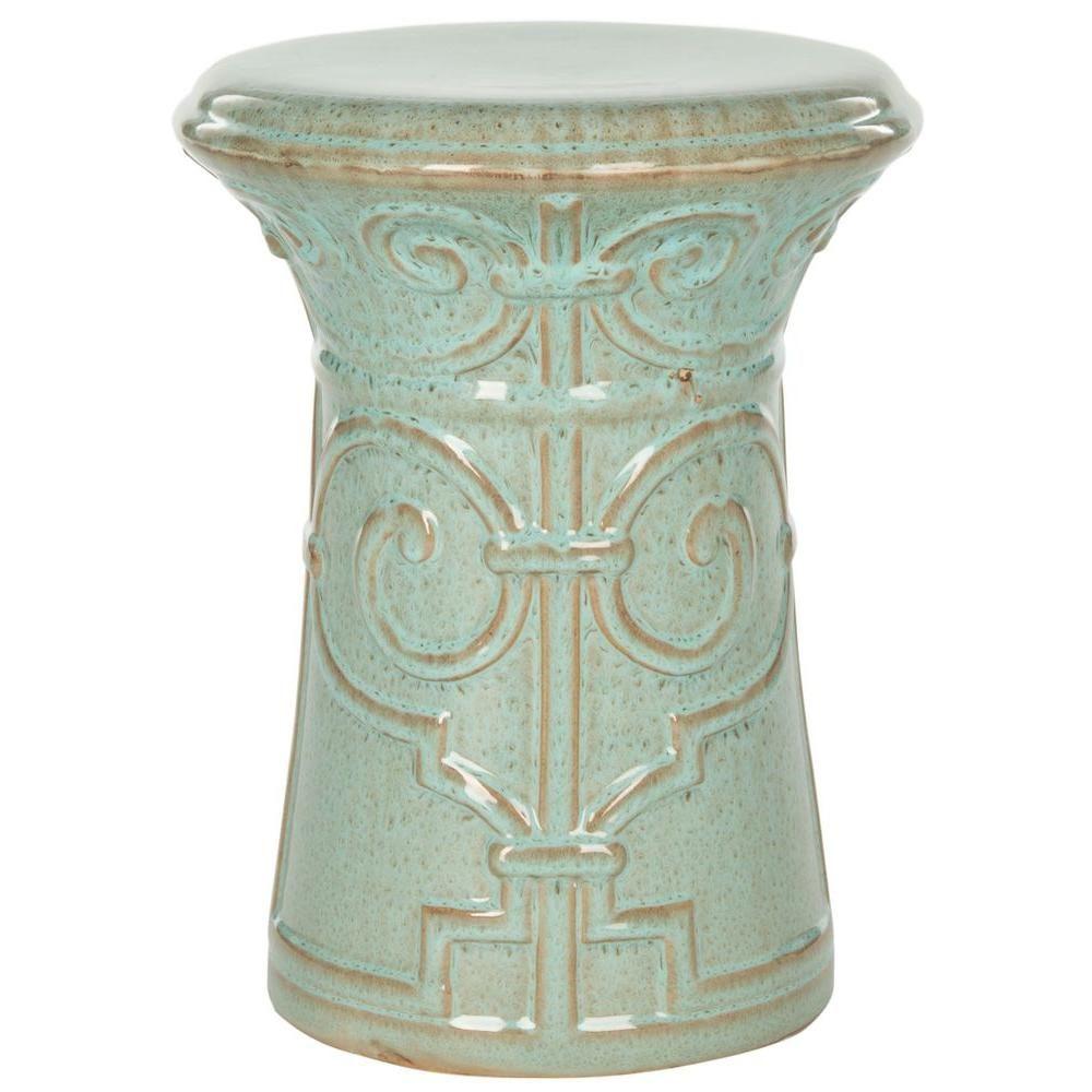 Safavieh Imperial Scroll Reactive Aqua Ceramic Garden Stool Throughout Lavin Ceramic Garden Stools (View 22 of 25)