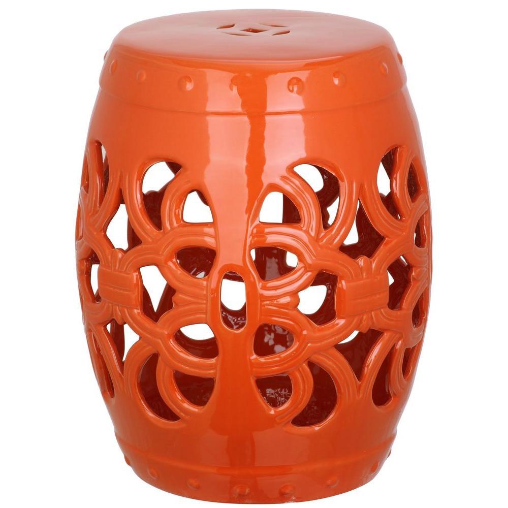 Safavieh Imperial Vine Orange Ceramic Garden Stool Acs4539D – The Home Depot With Regard To Ceramic Garden Stools (View 4 of 25)