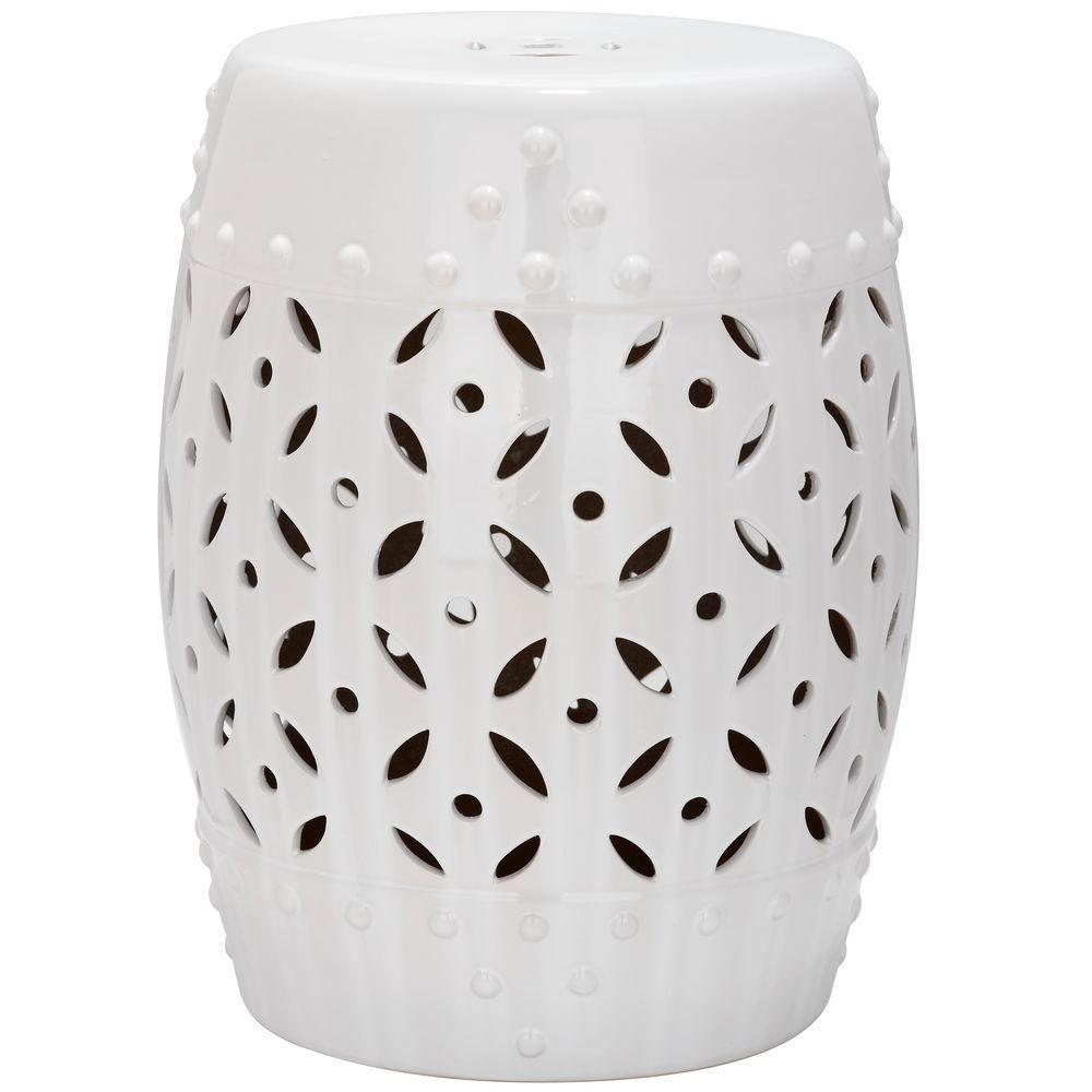 Safavieh Lattice Coin White Ceramic Patio Stool | Ceramic With Regard To Feliciana Ceramic Garden Stools (View 10 of 25)