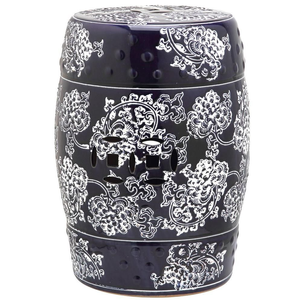 Safavieh Midnight Flower Navy And White Garden Patio Stool With Regard To Maci Tropical Birds Garden Stools (View 8 of 25)