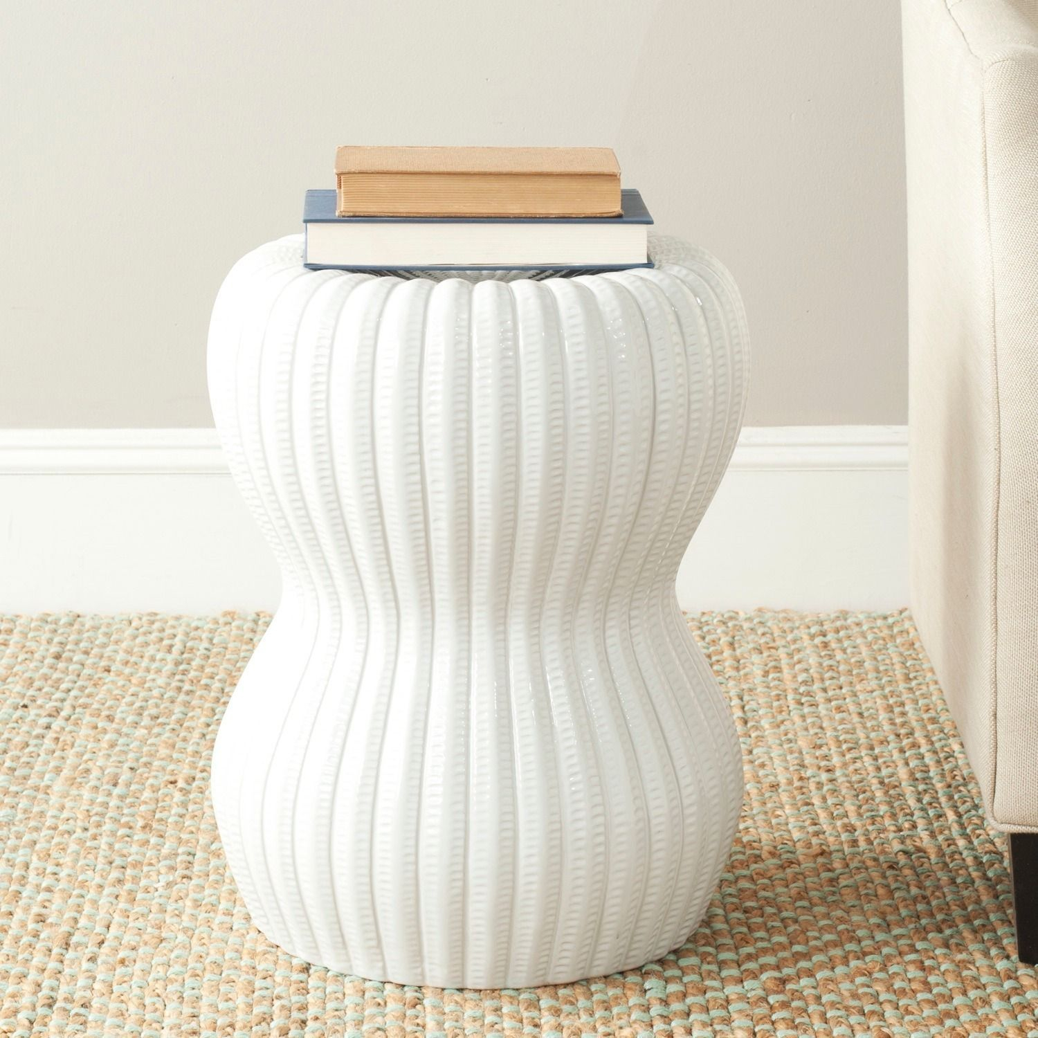 Safavieh Paradise Oval White Ceramic Decorative Garden Stool Within Karlov Ceramic Garden Stools (View 10 of 25)