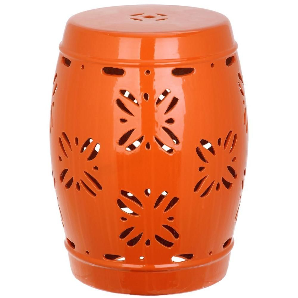 Safavieh Sakura Orange Garden Patio Stool | Ceramic Garden Within Kelston Ceramic Garden Stools (View 11 of 25)
