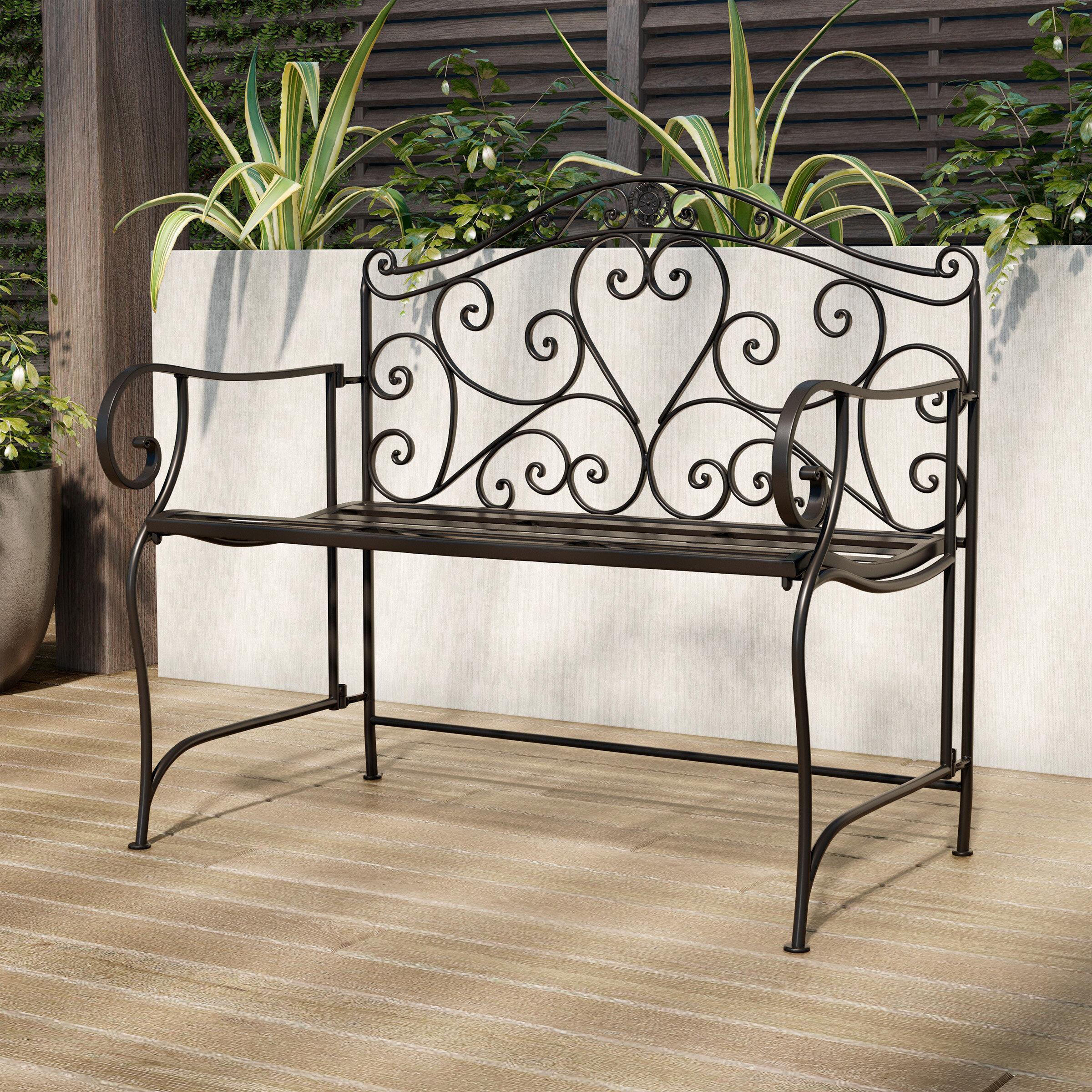 Salamone Folding Metal Garden Bench Within Norrie Metal Garden Benches (View 7 of 25)