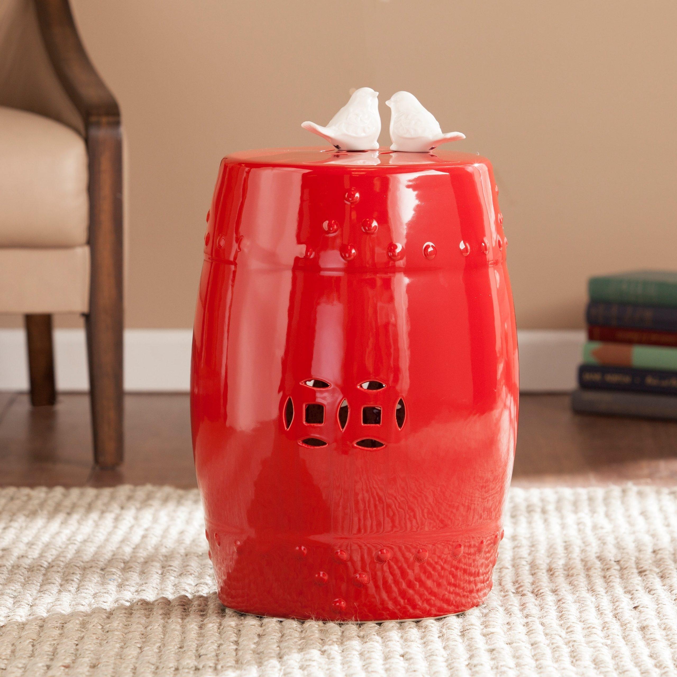 Salinas Poppy Red Ceramic Indoor/ Outdoor Accent Table/ Garden Stool Throughout Kujawa Ceramic Garden Stools (View 11 of 25)