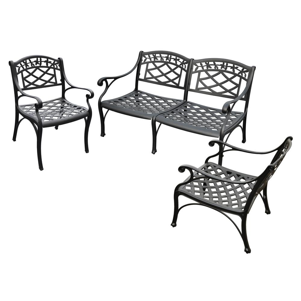 Sedona 4 Piece Cast Aluminum Patio Conversation Set In Ismenia Checkered Outdoor Cast Aluminum Patio Garden Benches (View 16 of 25)