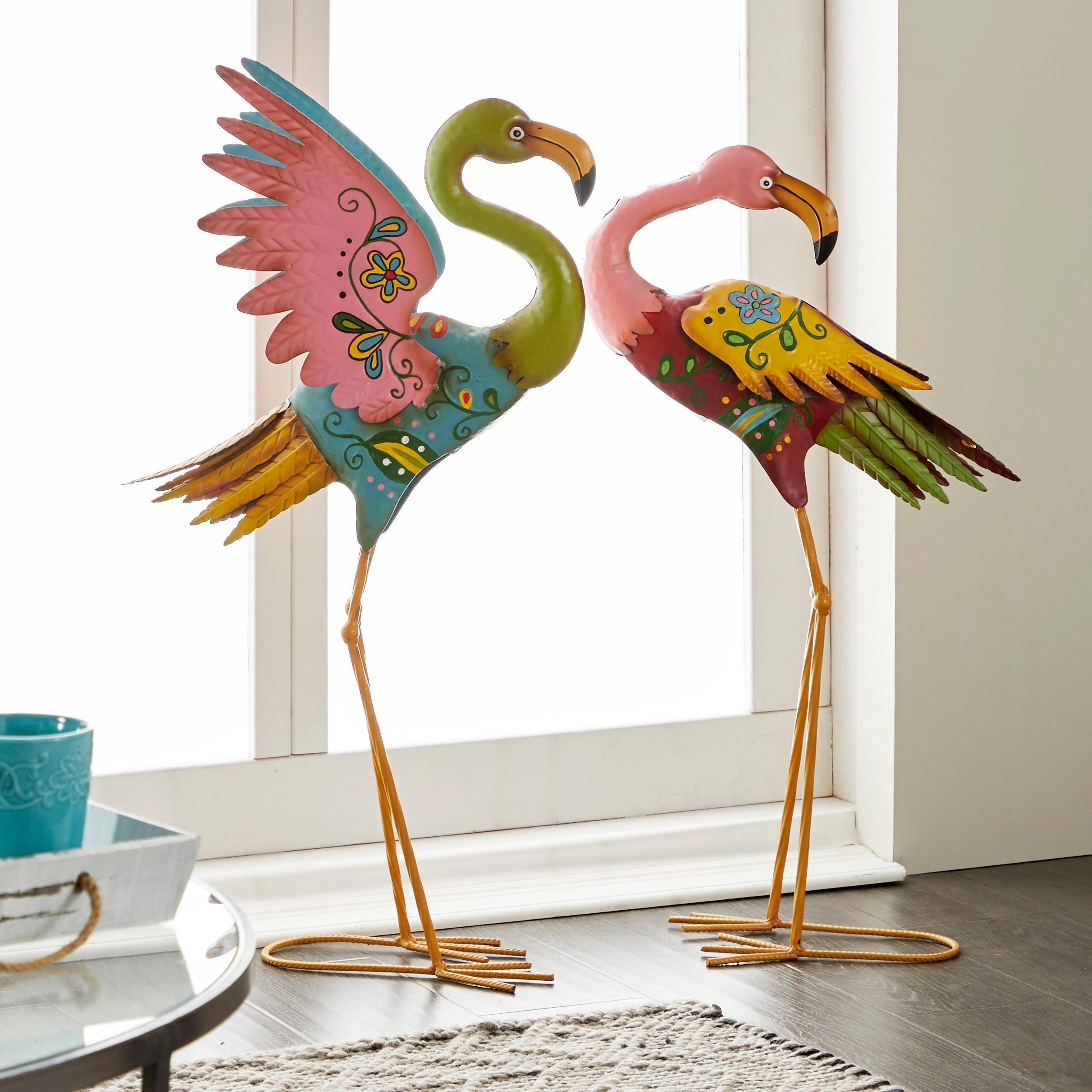 Set Of 2 Coastal Pink Metal Flamingo Sculpturesstudio 350 In Flamingo Metal Garden Benches (View 22 of 25)