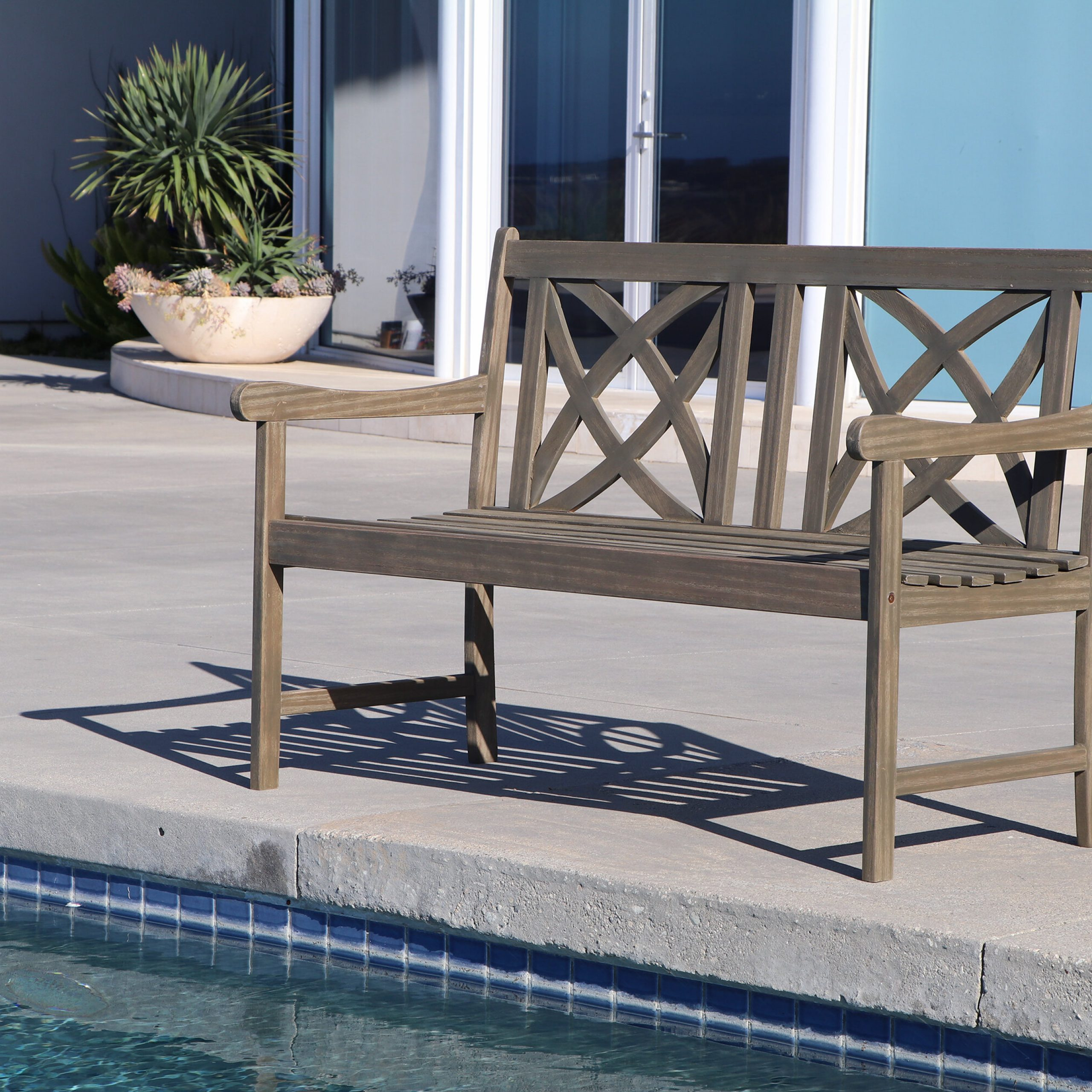 Shelbie Garden Bench Pertaining To Ismenia Checkered Outdoor Cast Aluminum Patio Garden Benches (View 10 of 25)