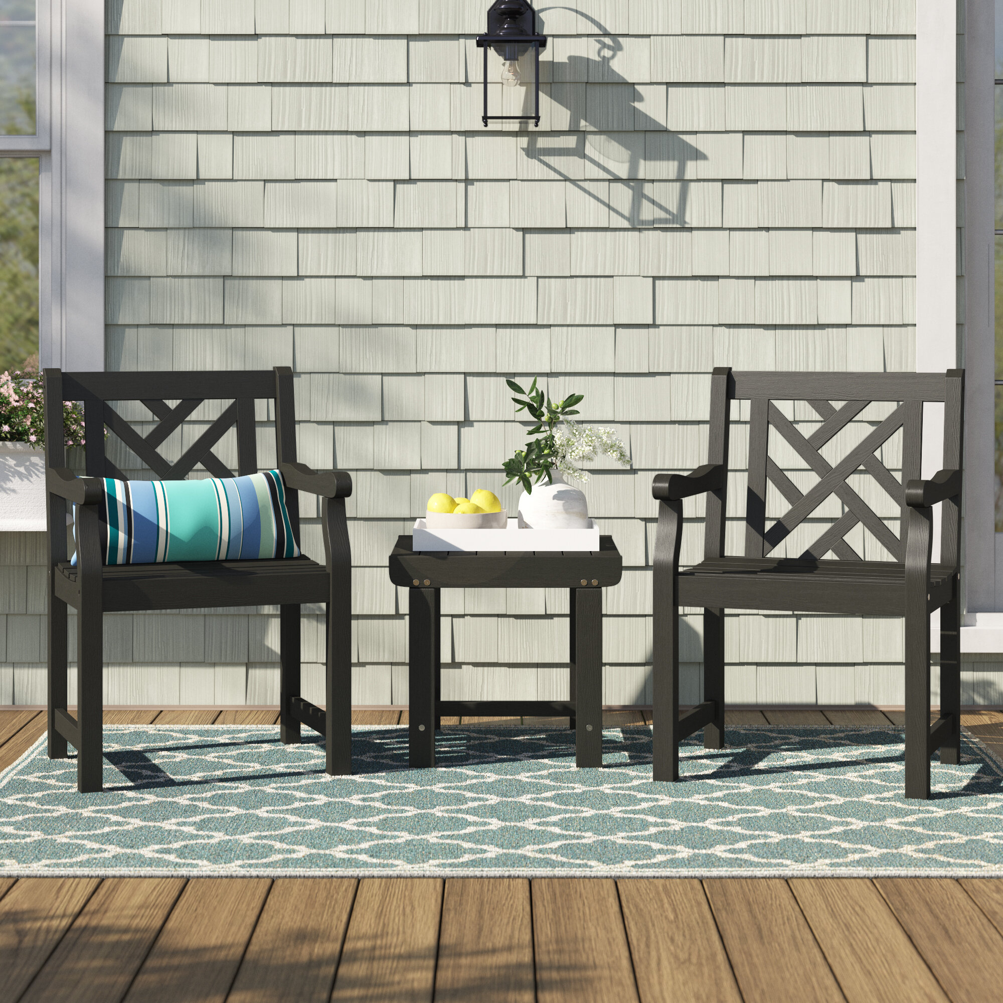 Shelbie Patio Wood 3 Piece Seating Group With Shelbie Wooden Garden Benches (View 9 of 25)