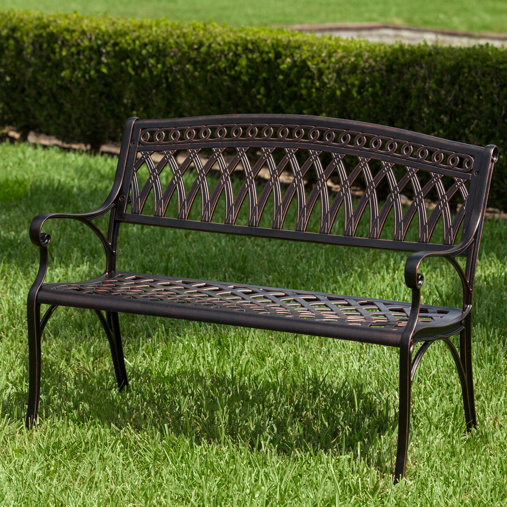 Simone Cast Aluminum Garden Bench Inside Alvah Slatted Cast Iron And Tubular Steel Garden Benches (View 11 of 25)
