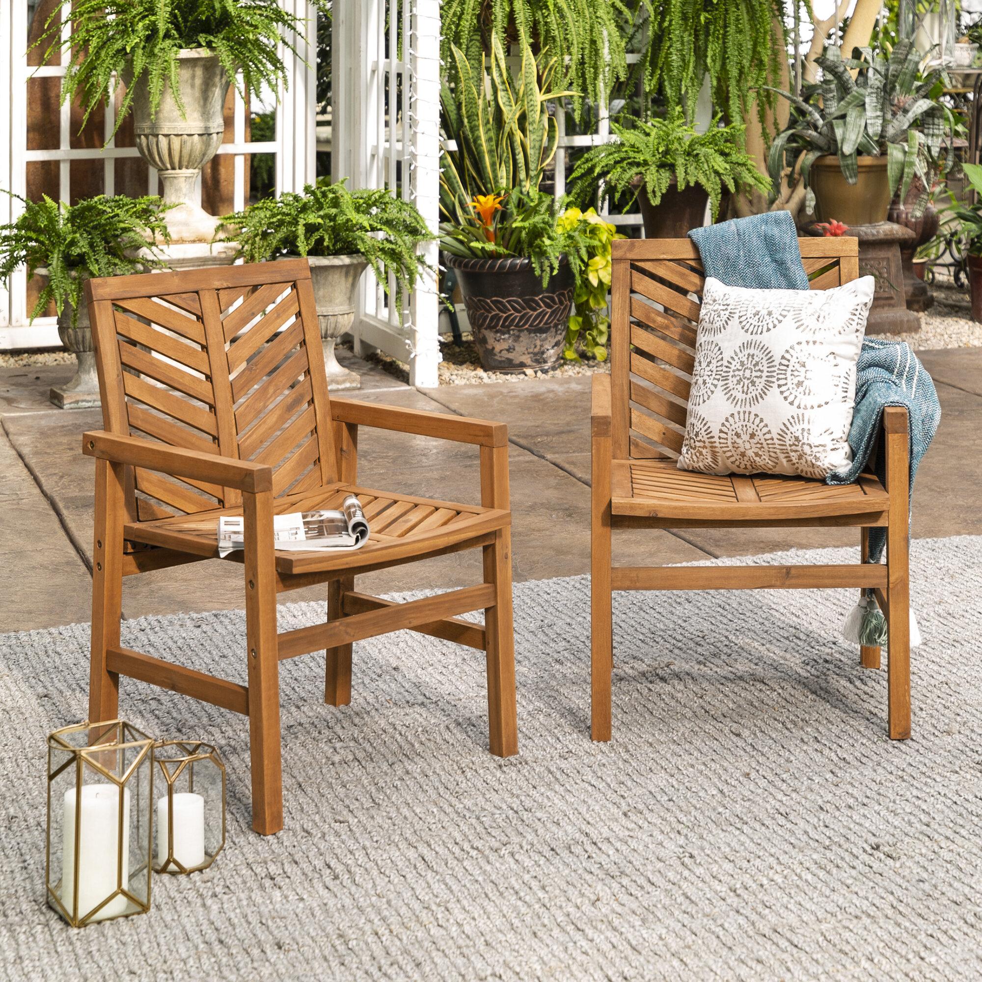 Skoog Chevron Patio Dining Chair With Skoog Chevron Wooden Garden Benches (View 8 of 25)