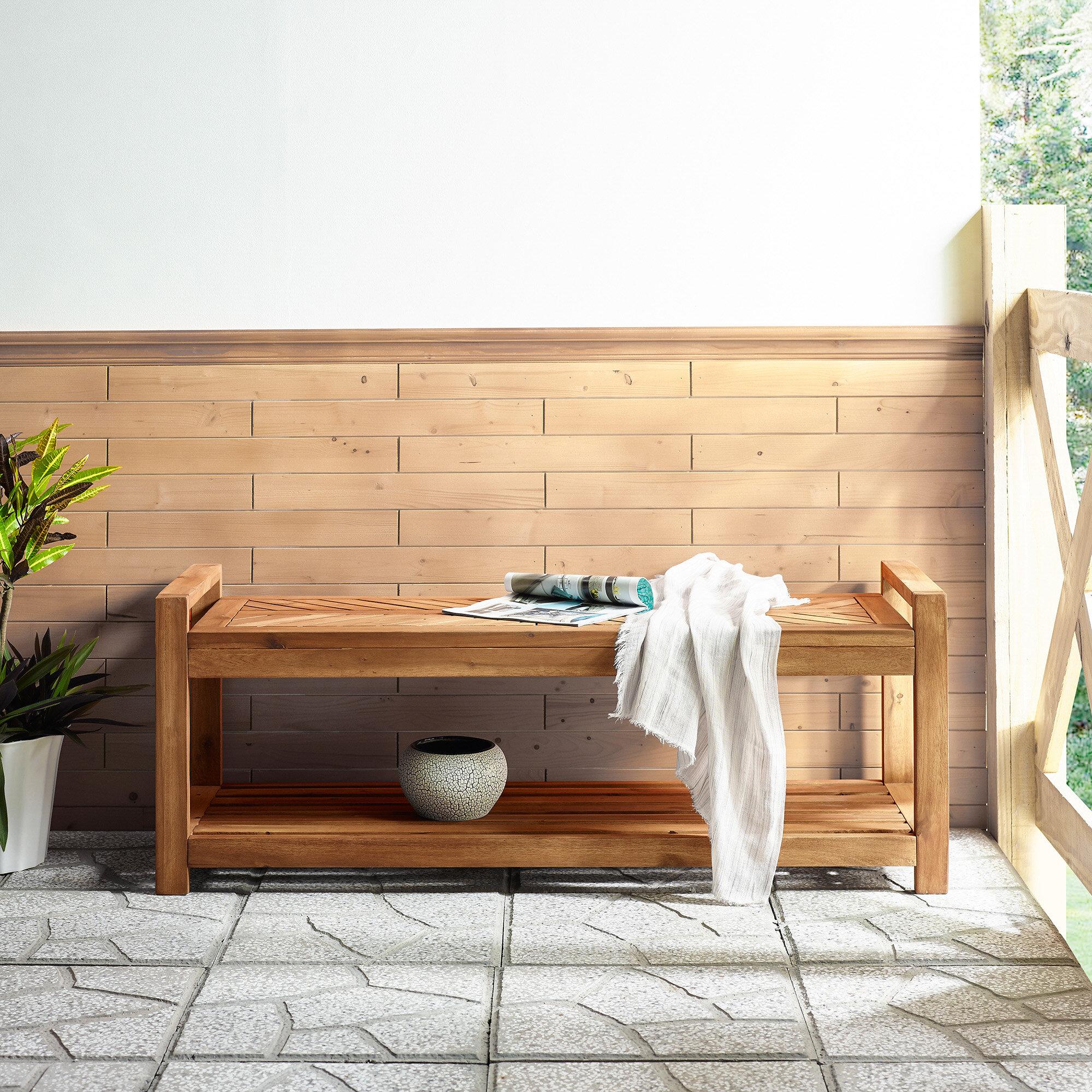 Skoog Chevron Wooden Storage Bench With Regard To Skoog Chevron Wooden Garden Benches (View 4 of 25)