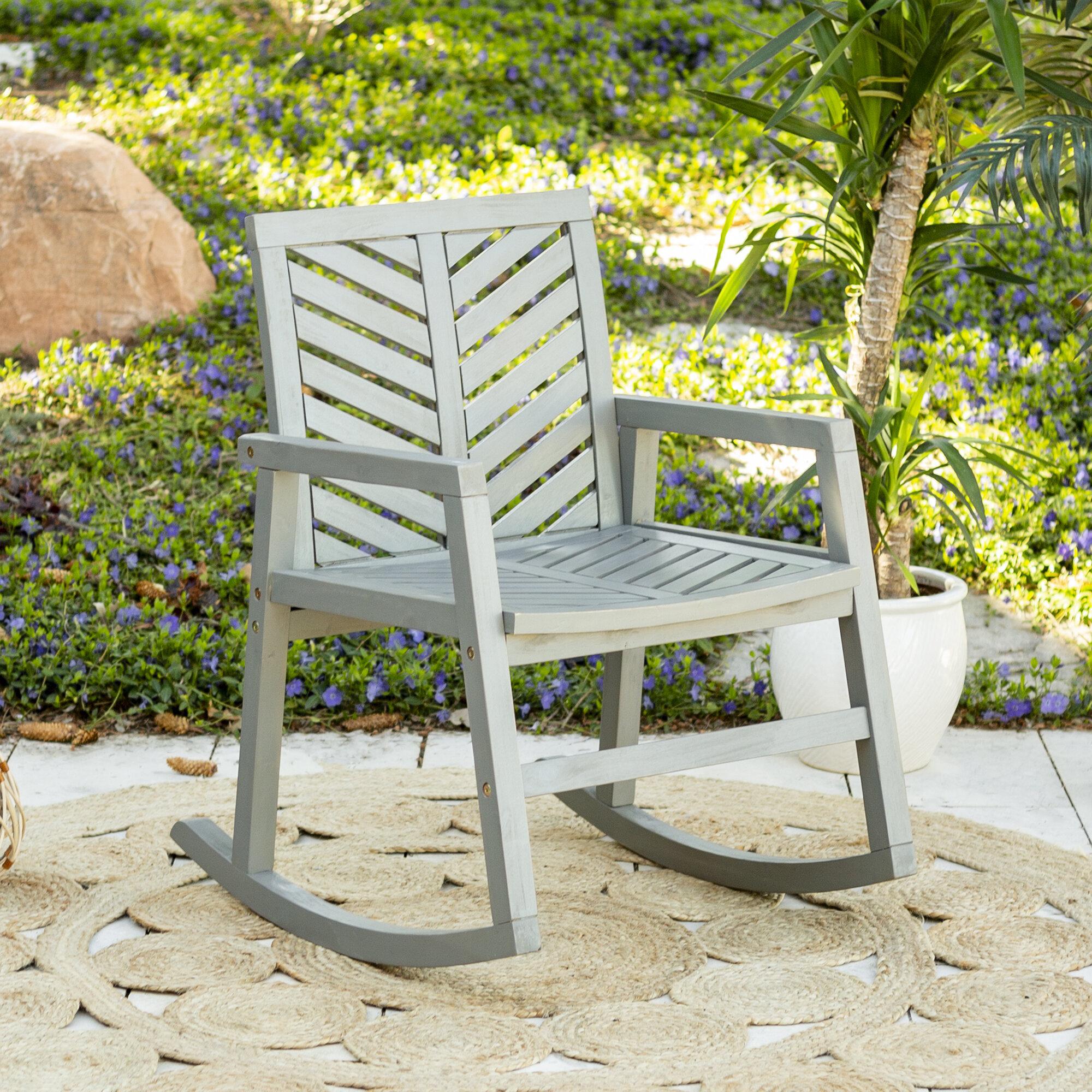 Skoog Outdoor Chevron Rocking Chair With Skoog Chevron Wooden Garden Benches (View 14 of 25)