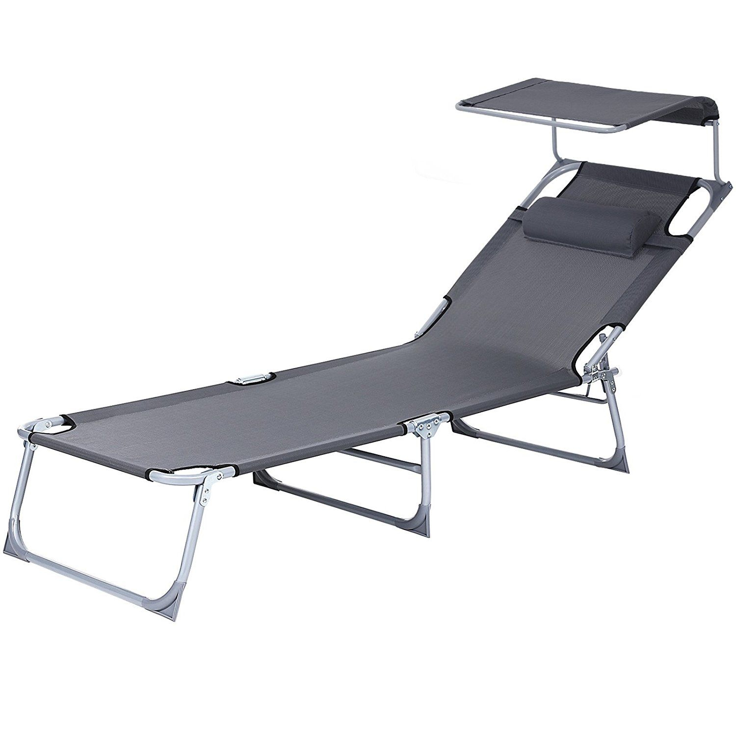 Songmics Sun Lounger Recliner Chair With Canopy And Within Norrie Metal Garden Benches (View 24 of 25)