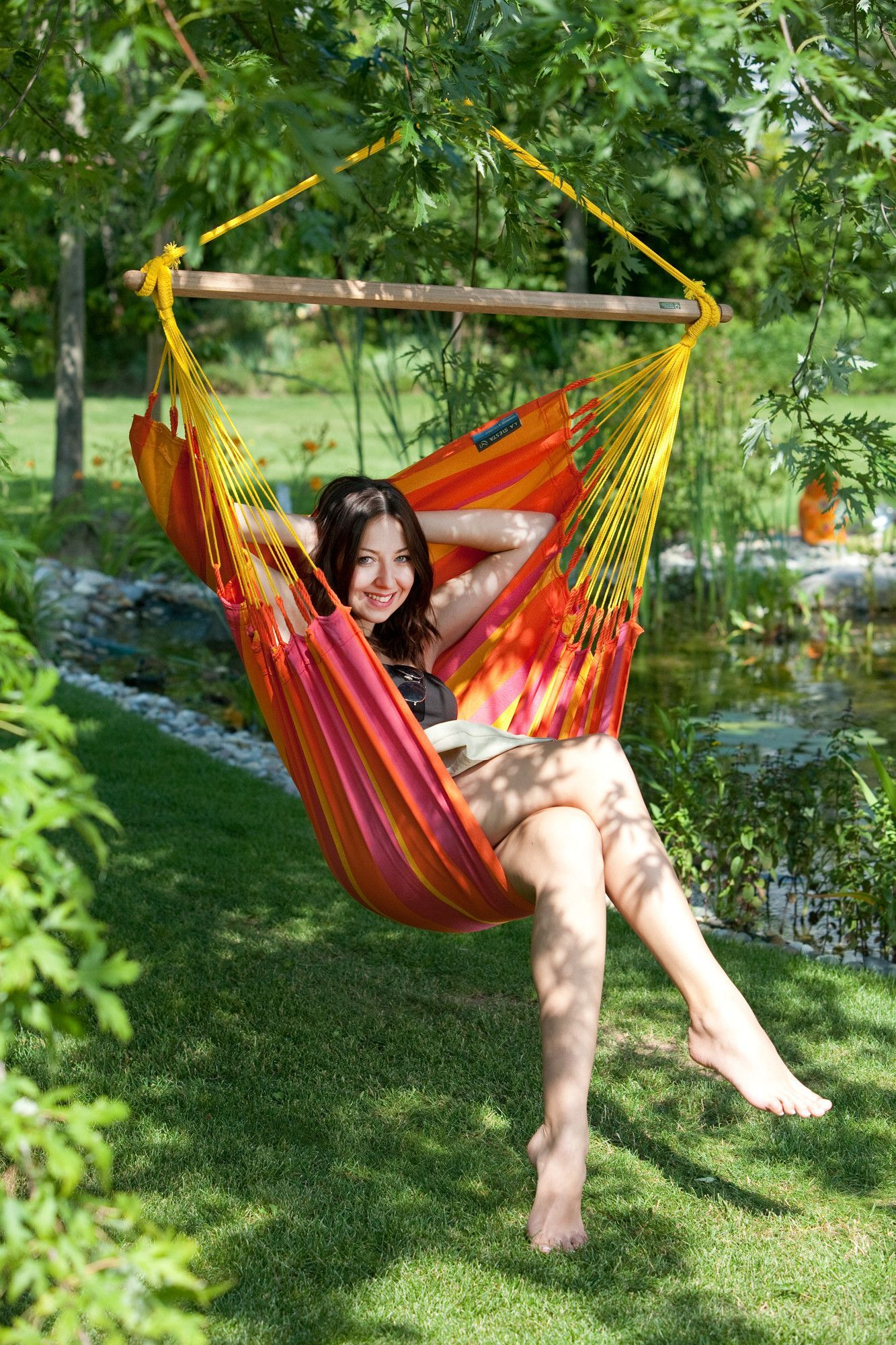 Sonrisa Weatherproof Basic Olefin Chair Hammock | Hammock Inside Ahana Wooden Garden Benches (View 25 of 25)
