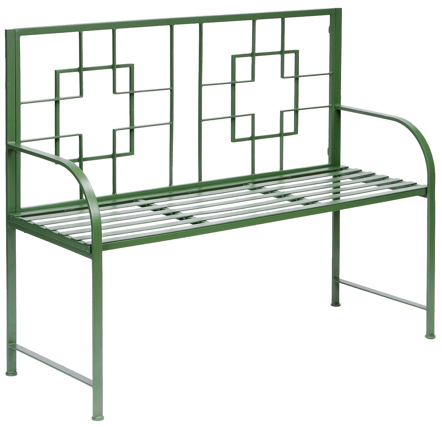Square On Squares Outdoor Bench | Lampsplus | Outdoor With Ossu Iron Picnic Benches (View 16 of 25)