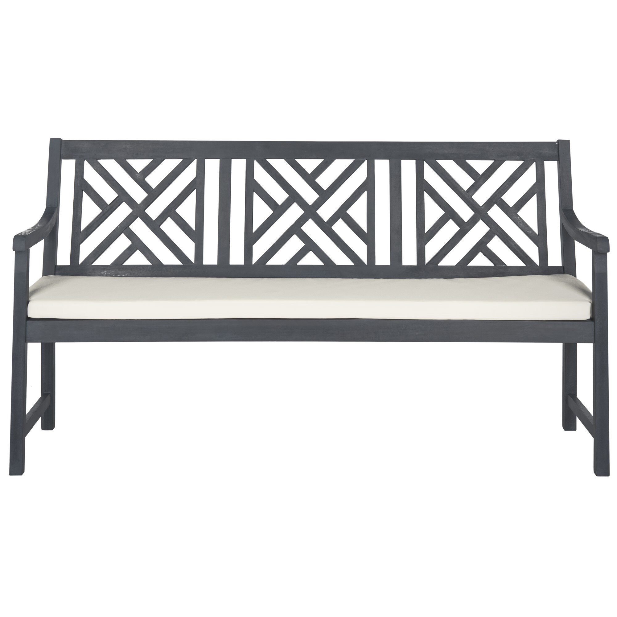 Stanwich Wooden Garden Bench Within Alvah Slatted Cast Iron And Tubular Steel Garden Benches (View 6 of 25)
