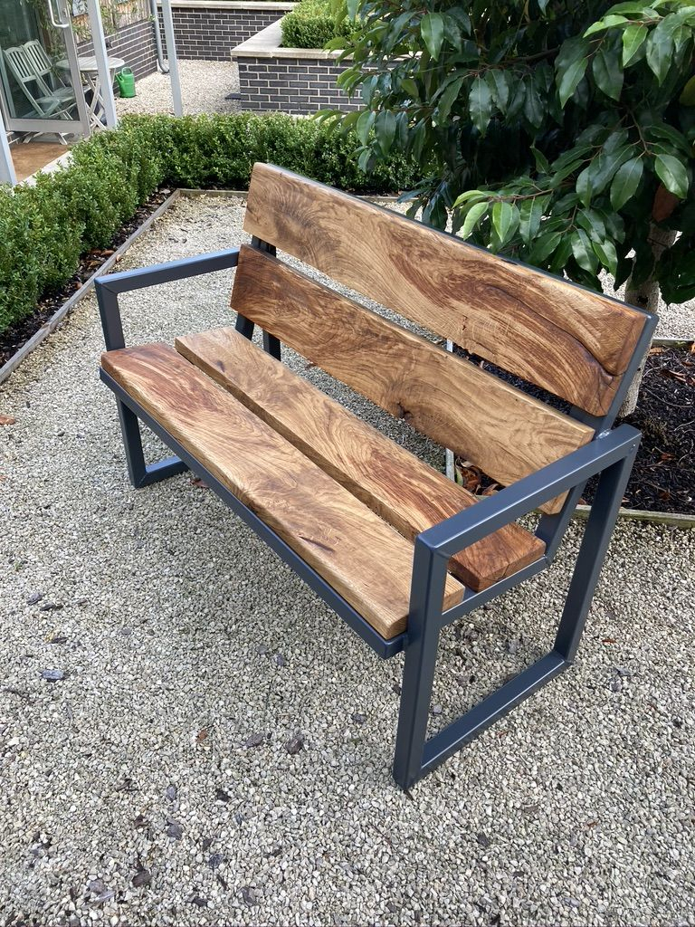 Steel Garden Chair Design Pertaining To Alvah Slatted Cast Iron And Tubular Steel Garden Benches (View 16 of 25)