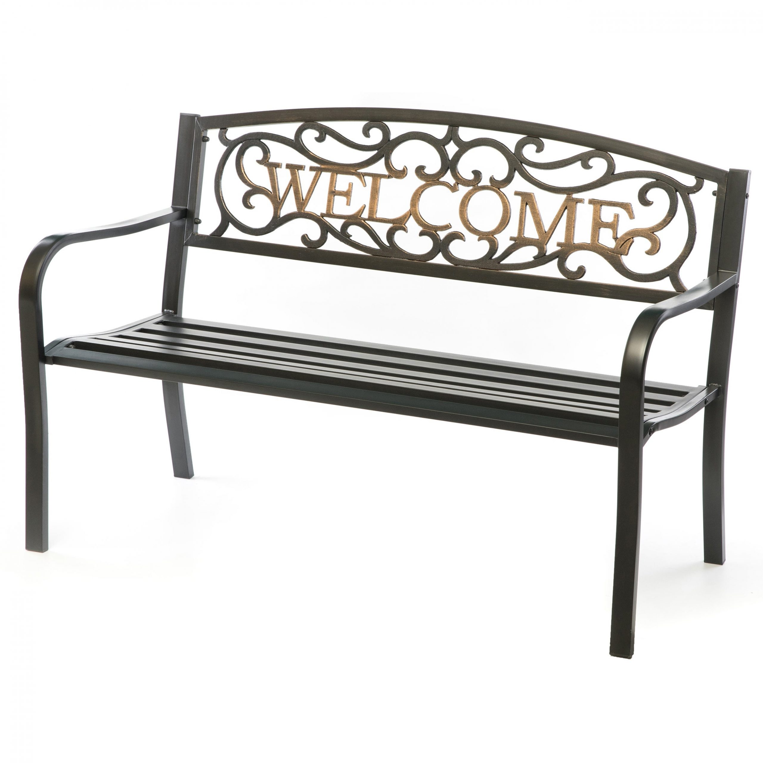 Steel Outdoor Patio Garden Park Bench With Cast Iron Welcome Backrest With Celtic Knot Iron Garden Benches (Photo 11 of 25)