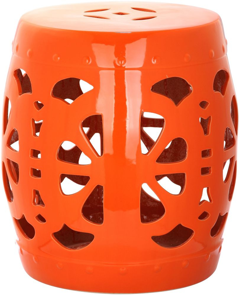 Stencil Blossom Garden Stool In Orange Regarding Harwich Ceramic Garden Stools (View 17 of 25)
