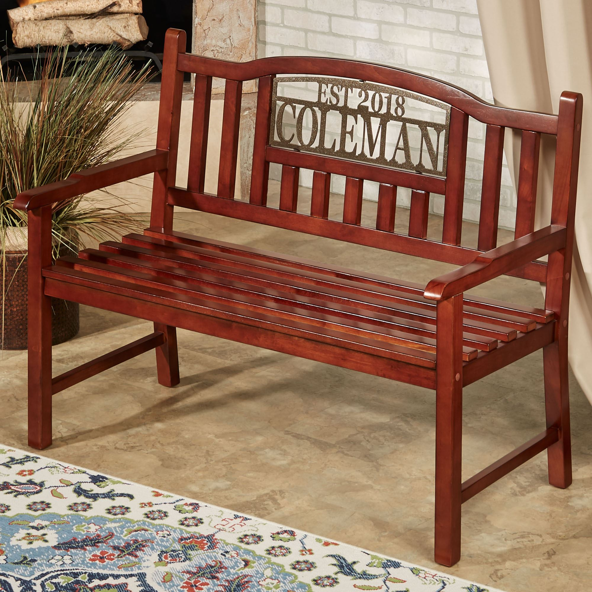Stonehill Personalized Outdoor Bench Regarding Walnut Solid Wood Garden Benches (View 7 of 25)
