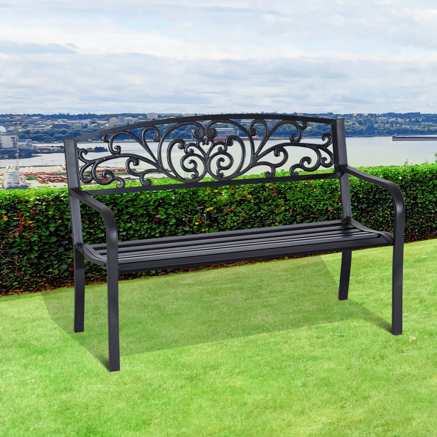 Featured Image of Strasburg Blossoming Decorative Iron Garden Benches