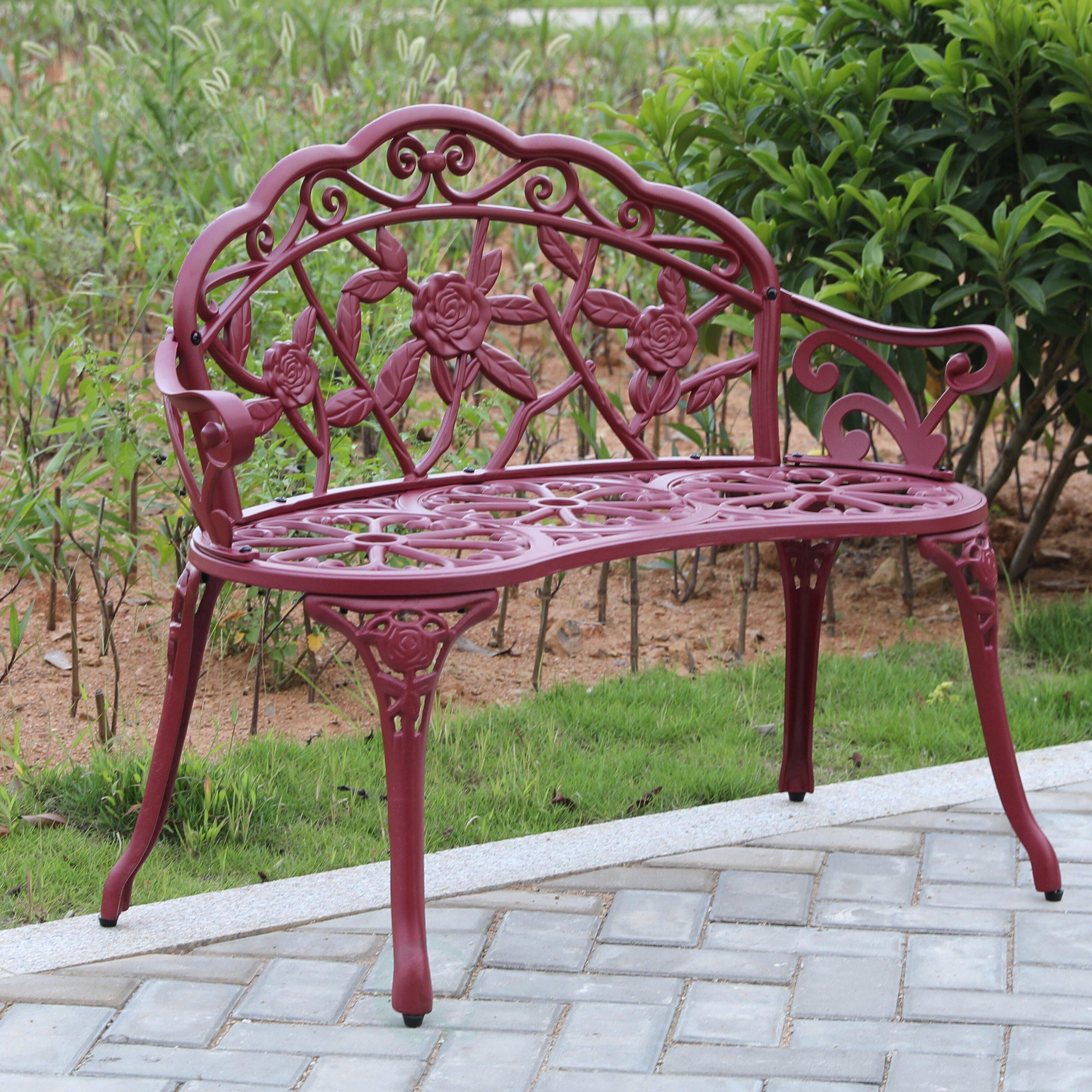 Stratton Steel Garden Bench With Regard To Montezuma Cast Aluminum Garden Benches (View 16 of 25)