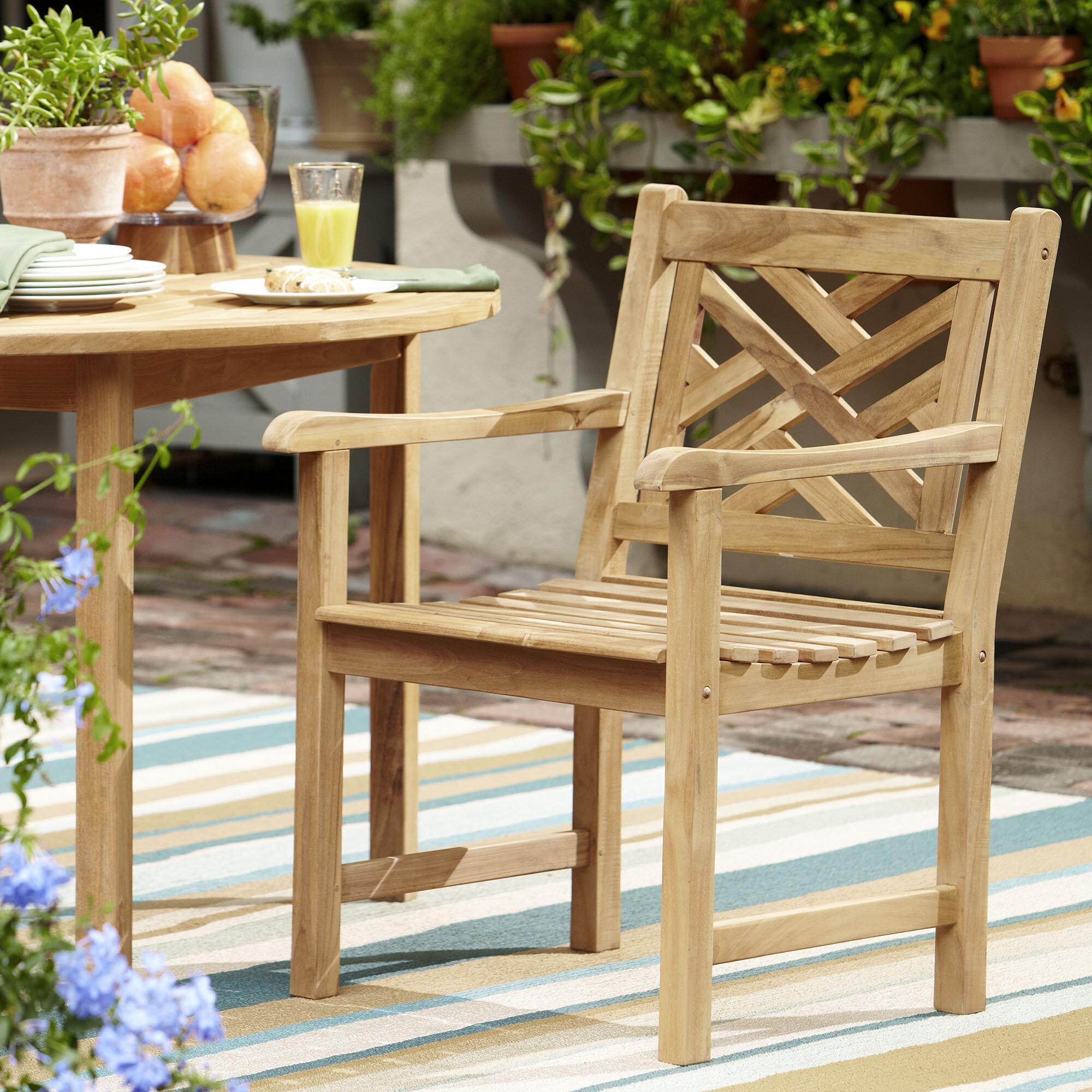 Summerton Lattice Back Teak Patio Dining Chair Inside Coleen Outdoor Teak Garden Benches (View 19 of 25)