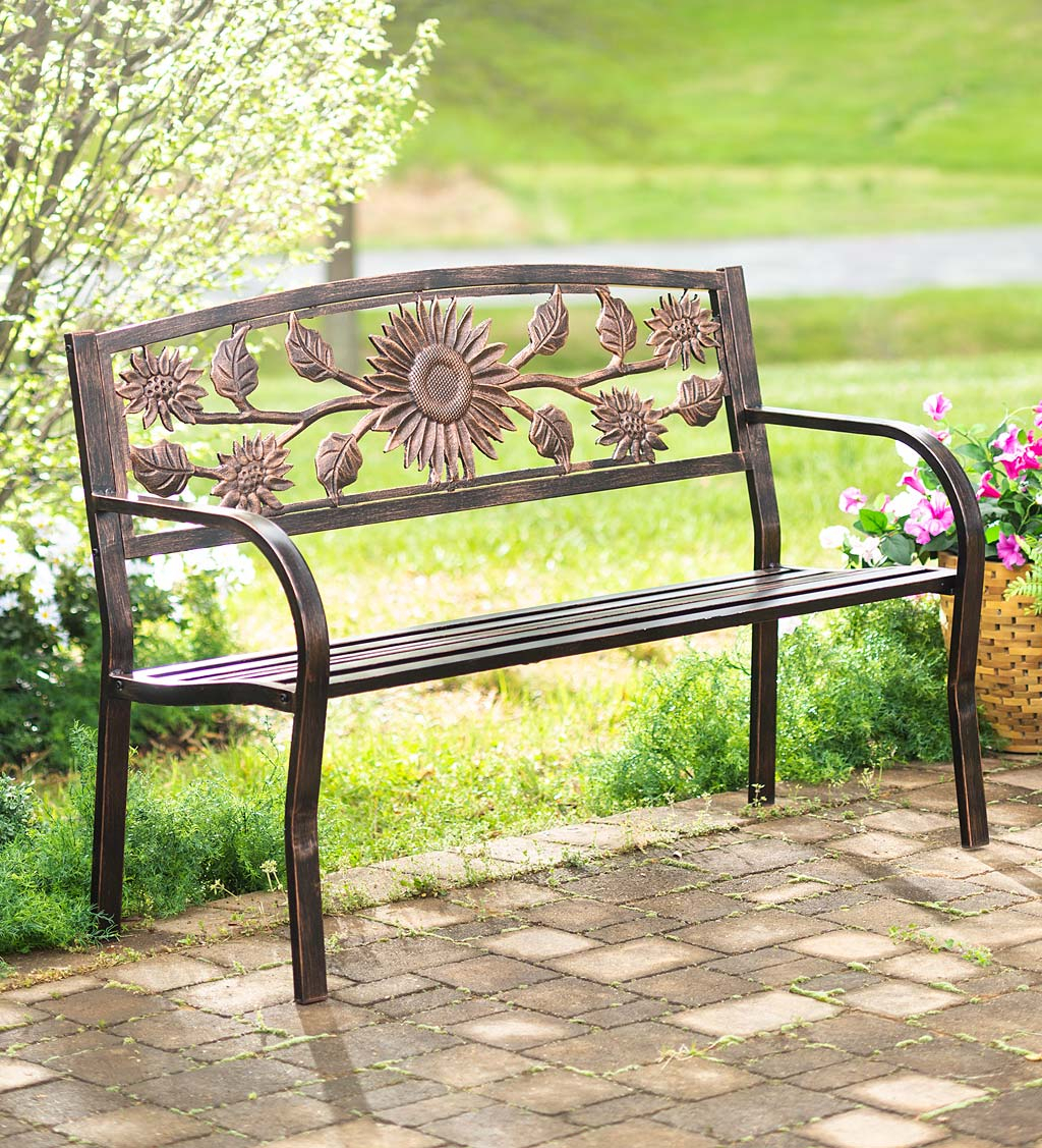 Sunflower Metal Garden Bench | Wind And Weather For Blooming Iron Garden Benches (View 10 of 25)