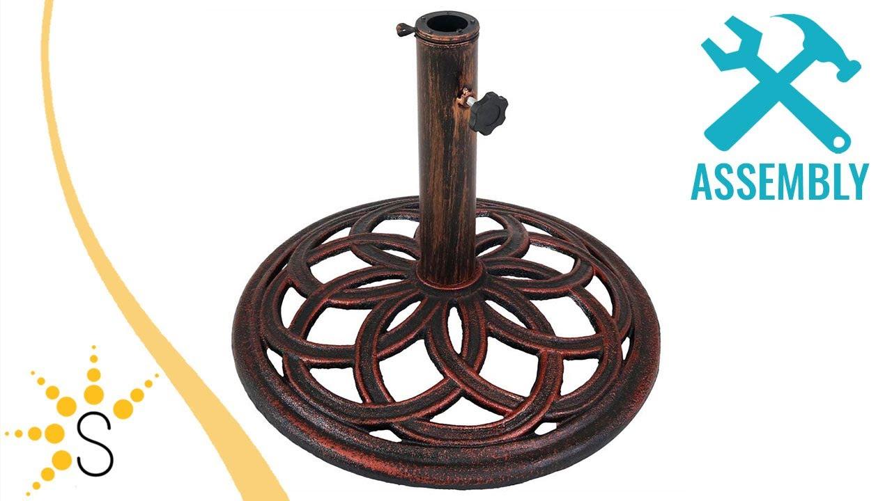 Sunnydaze Cast Iron Umbrella Base With Celtic Knot Design – Nmo 672 * Throughout Celtic Knot Iron Garden Benches (View 21 of 25)
