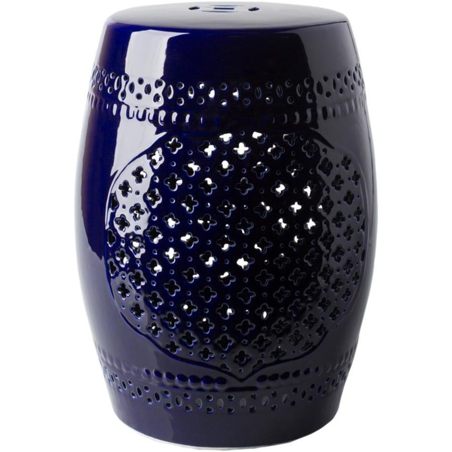 Surya Auburndale Dark Blue Glass Foot Stool Lowes In Intended For Engelhardt Ceramic Garden Stools (View 17 of 25)
