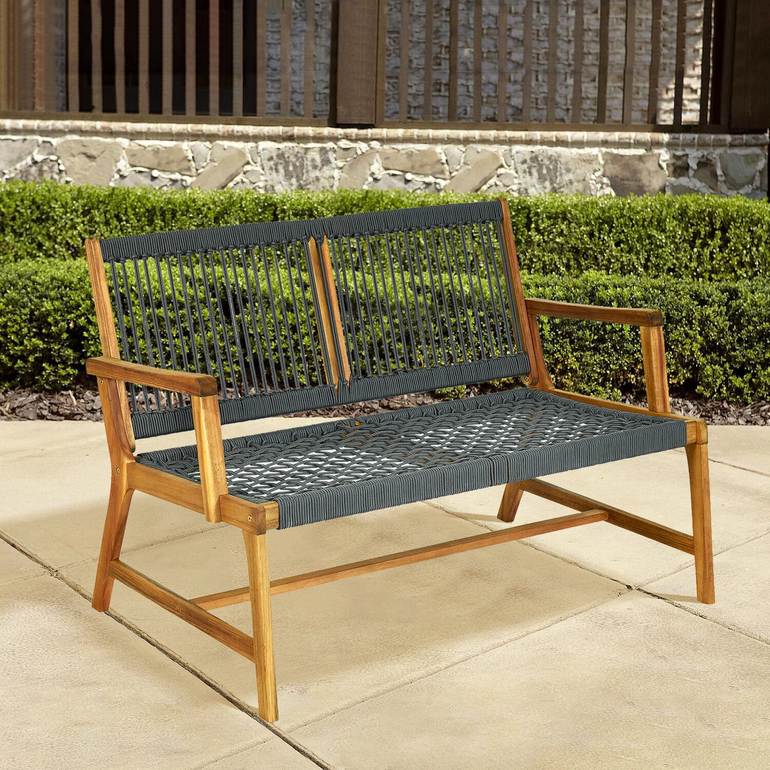 Tabiona Wooden Garden Bench For Ahana Wooden Garden Benches (View 8 of 25)