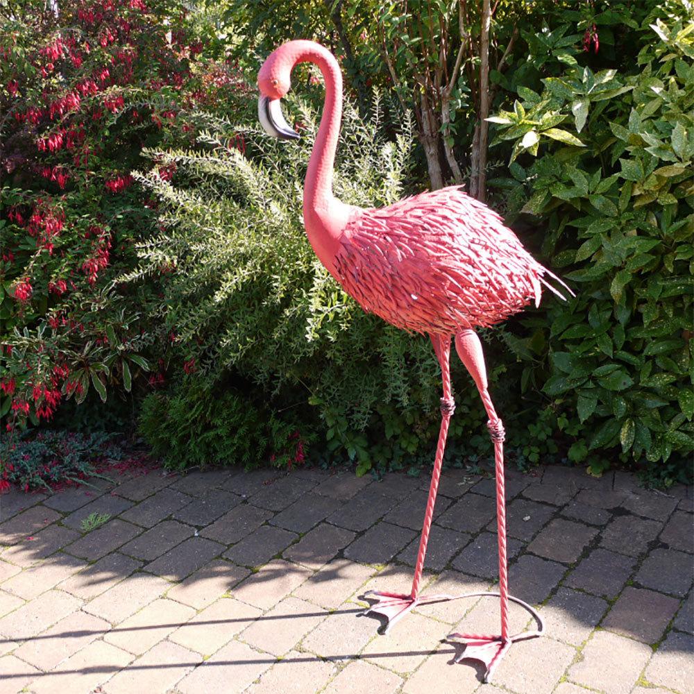 Tall Pink Flamingo Garden Sculpture Inside Flamingo Metal Garden Benches (View 21 of 25)