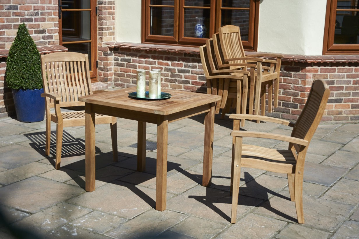 Teak 80Cm Club Square Dining Table | Bridgman Inside Hampstead Teak Garden Benches (View 20 of 25)