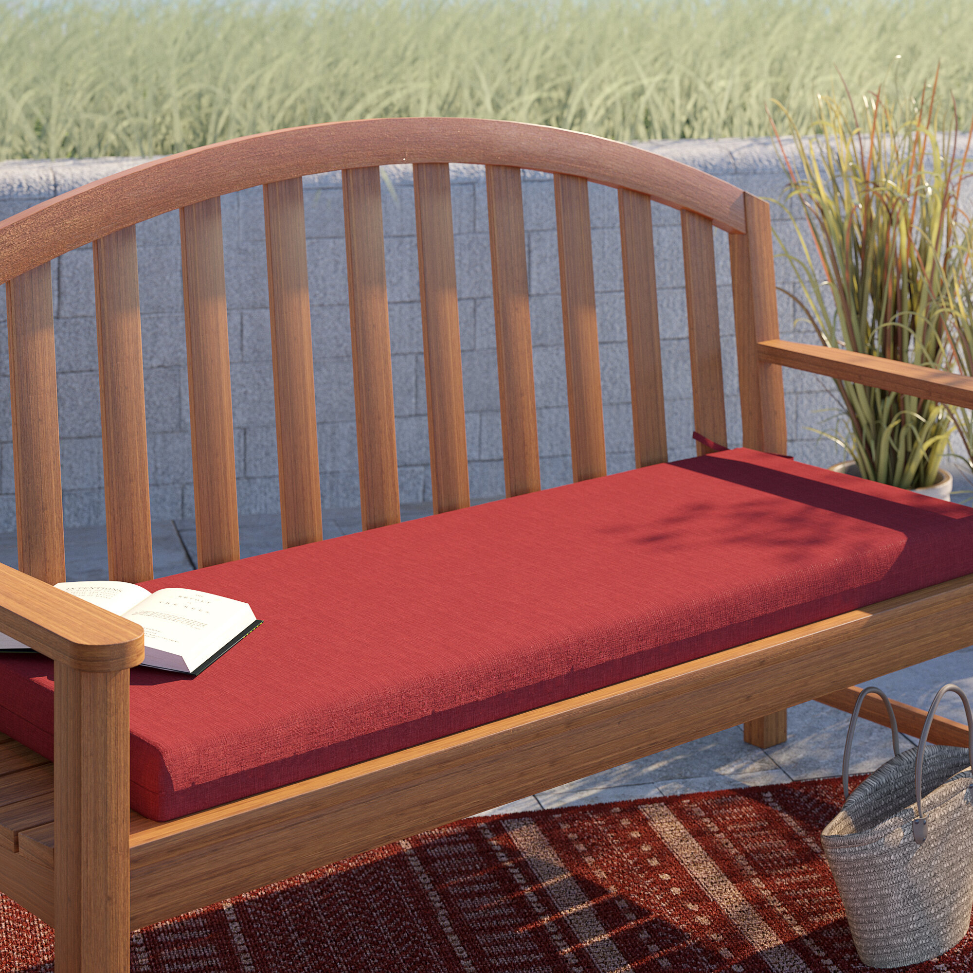 Texture Outdoor Bench Cushion With Regard To Ahana Wooden Garden Benches (View 17 of 25)