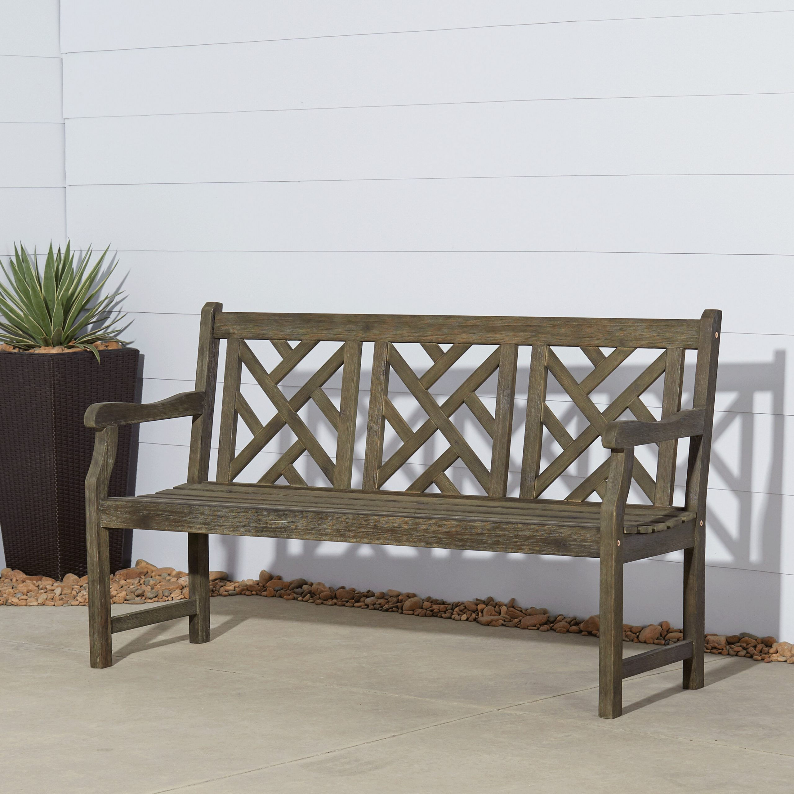 Three Posts™ Elsner Acacia Garden Bench Within Avoca Wood Garden Benches (View 19 of 25)