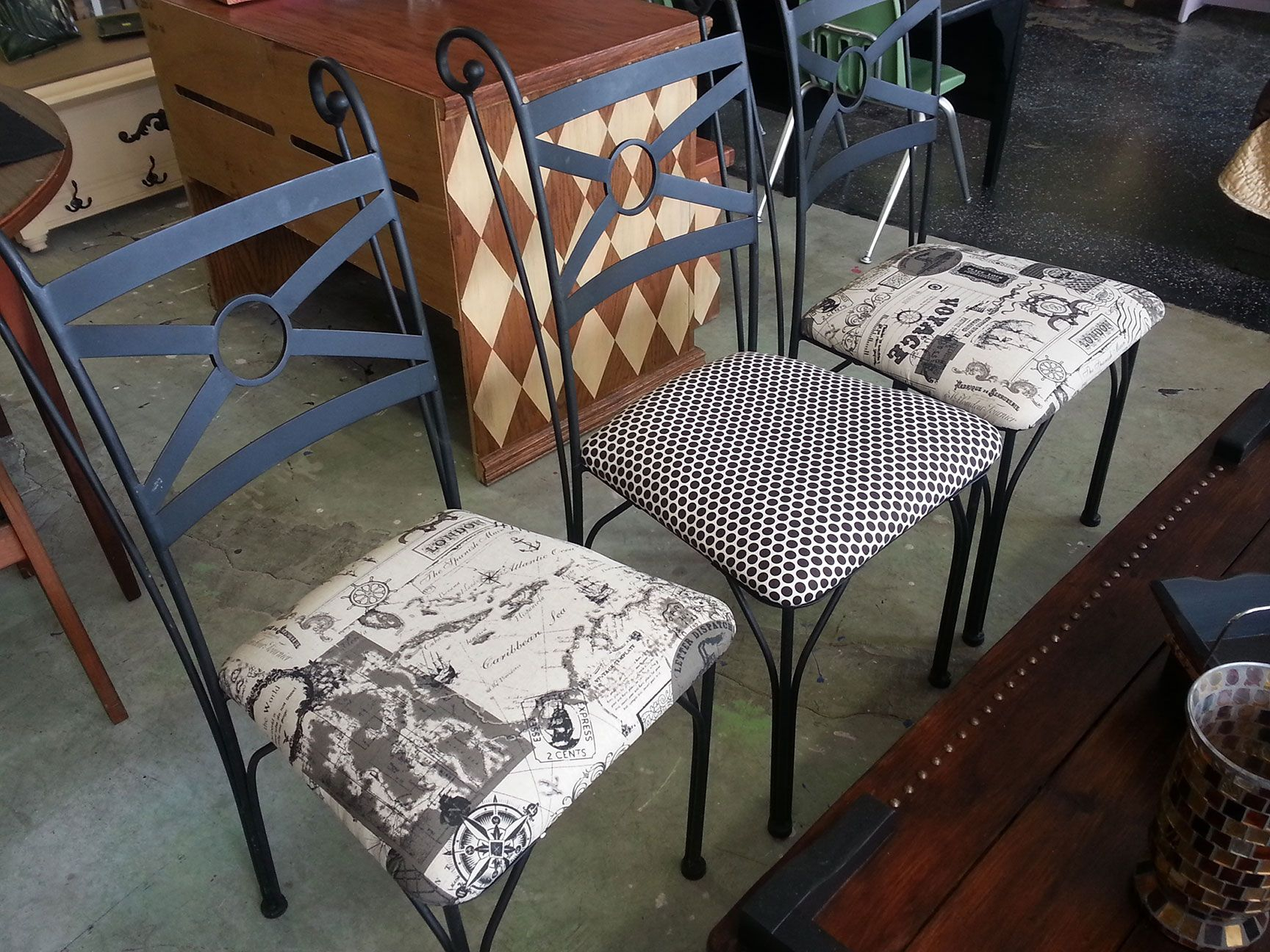 Three Solid Wrought Iron Chairs Were Simply Repurposed And Pertaining To Lucille Timberland Wooden Garden Benches (View 19 of 25)