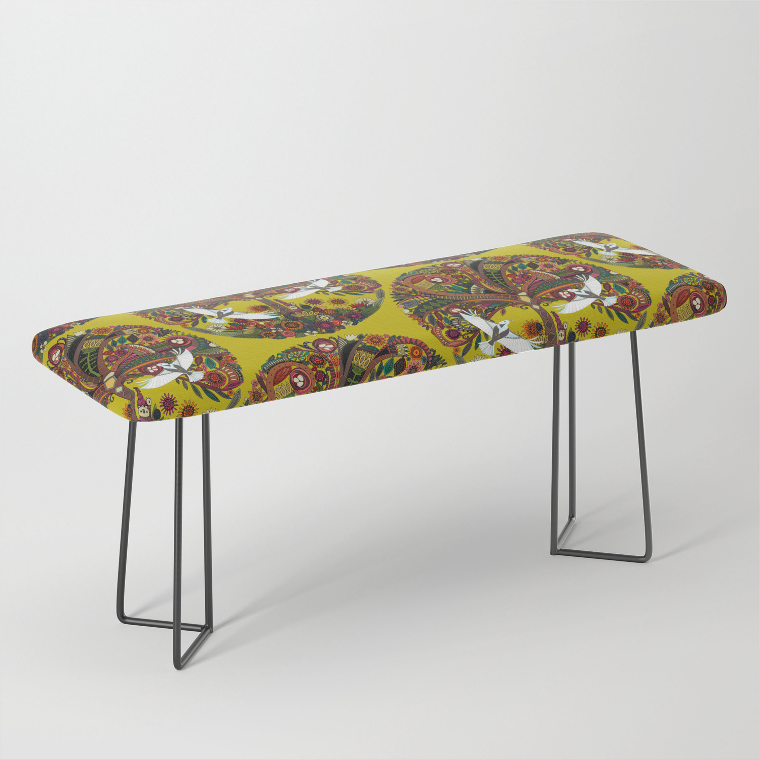 Tree Of Life Chartreuse Benchsharonturner | Society6 Regarding Tree Of Life Iron Garden Benches (View 15 of 25)