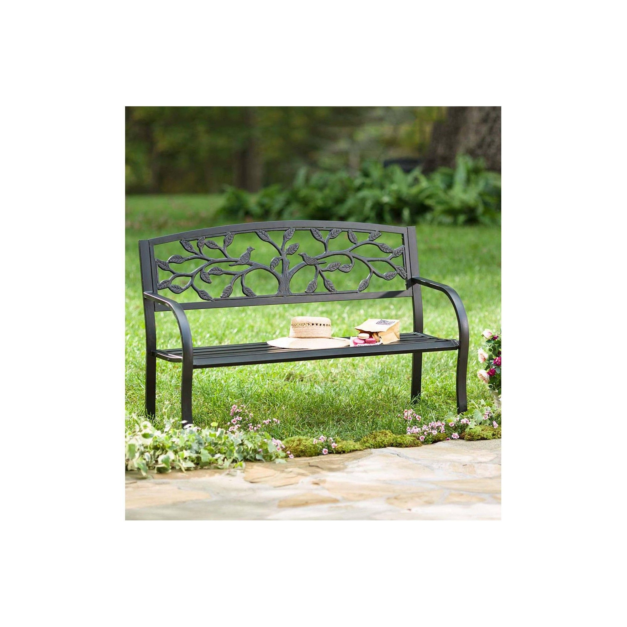 Tree Of Life Design Metal Outdoor Garden Bench With Full In Tree Of Life Iron Garden Benches (View 8 of 25)