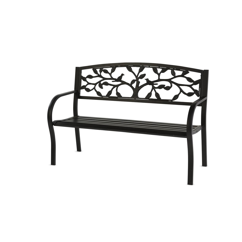 Tree Of Life Metal Garden Bench – Black For Norrie Metal Garden Benches (View 5 of 25)
