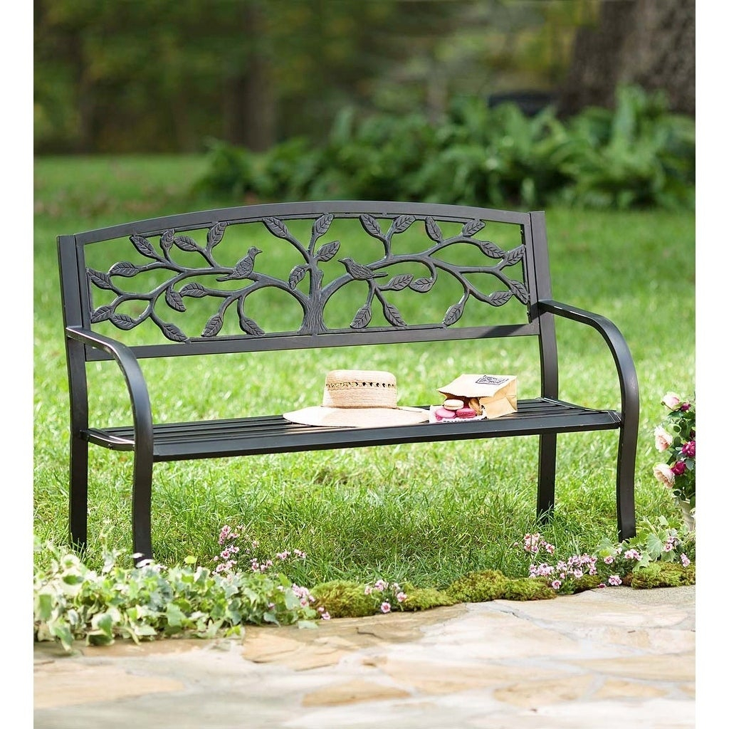 Tree Of Life Metal Garden Bench Black Intended For Celtic Knot Iron Garden Benches (View 13 of 25)