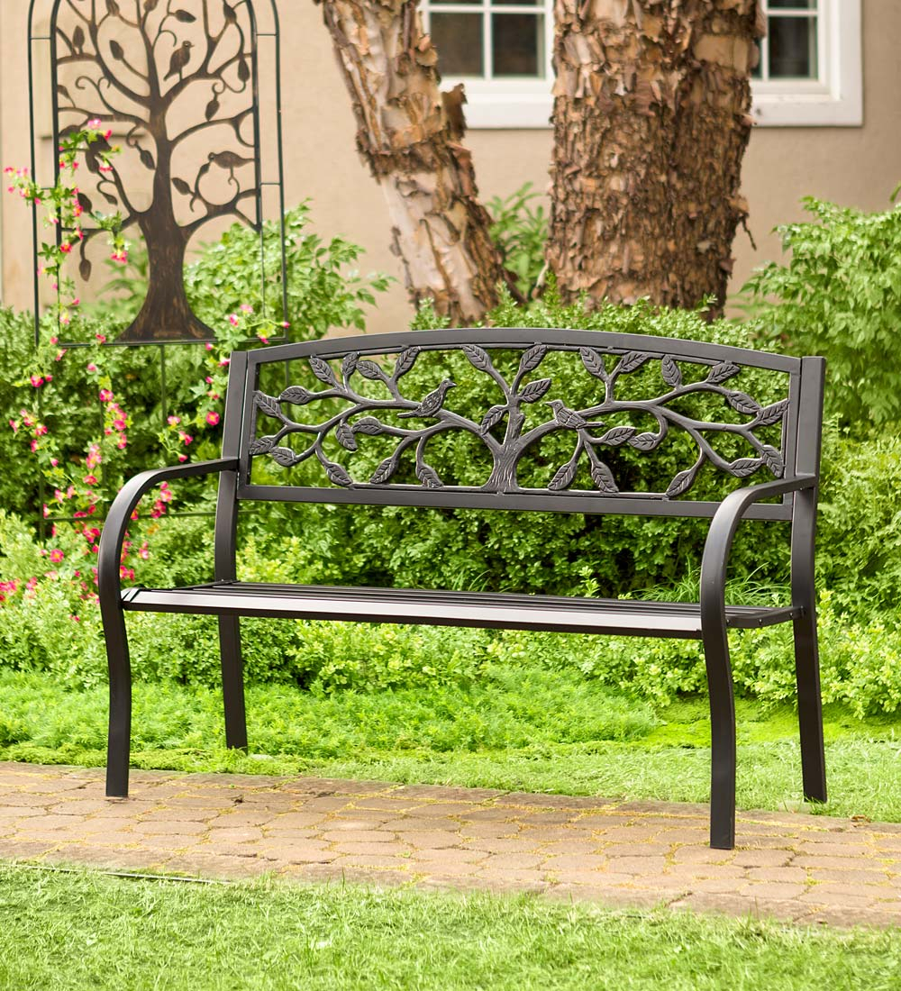 Tree Of Life Metal Garden Bench – Black | Wind And Weather Throughout Tree Of Life Iron Garden Benches (View 3 of 25)