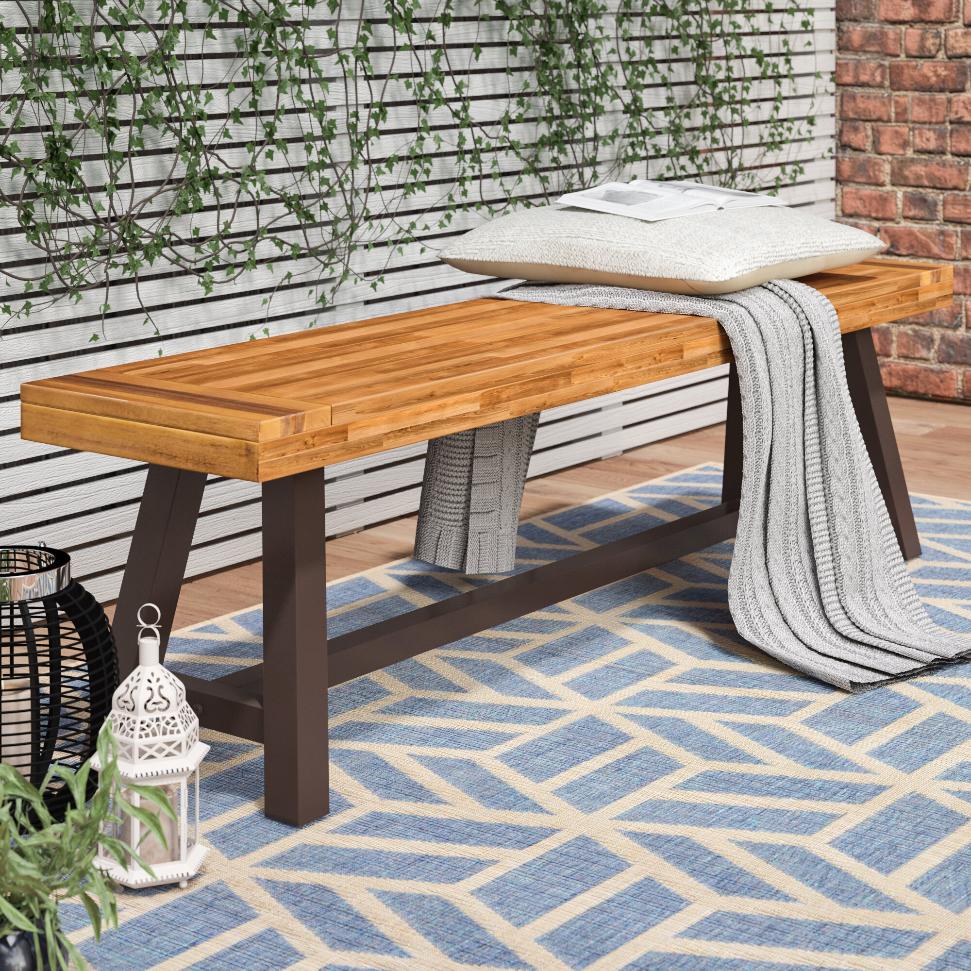 Trent Austin Design® Mersey Outdoor Wood Picnic Bench & Reviews Pertaining To Ossu Iron Picnic Benches (View 6 of 25)