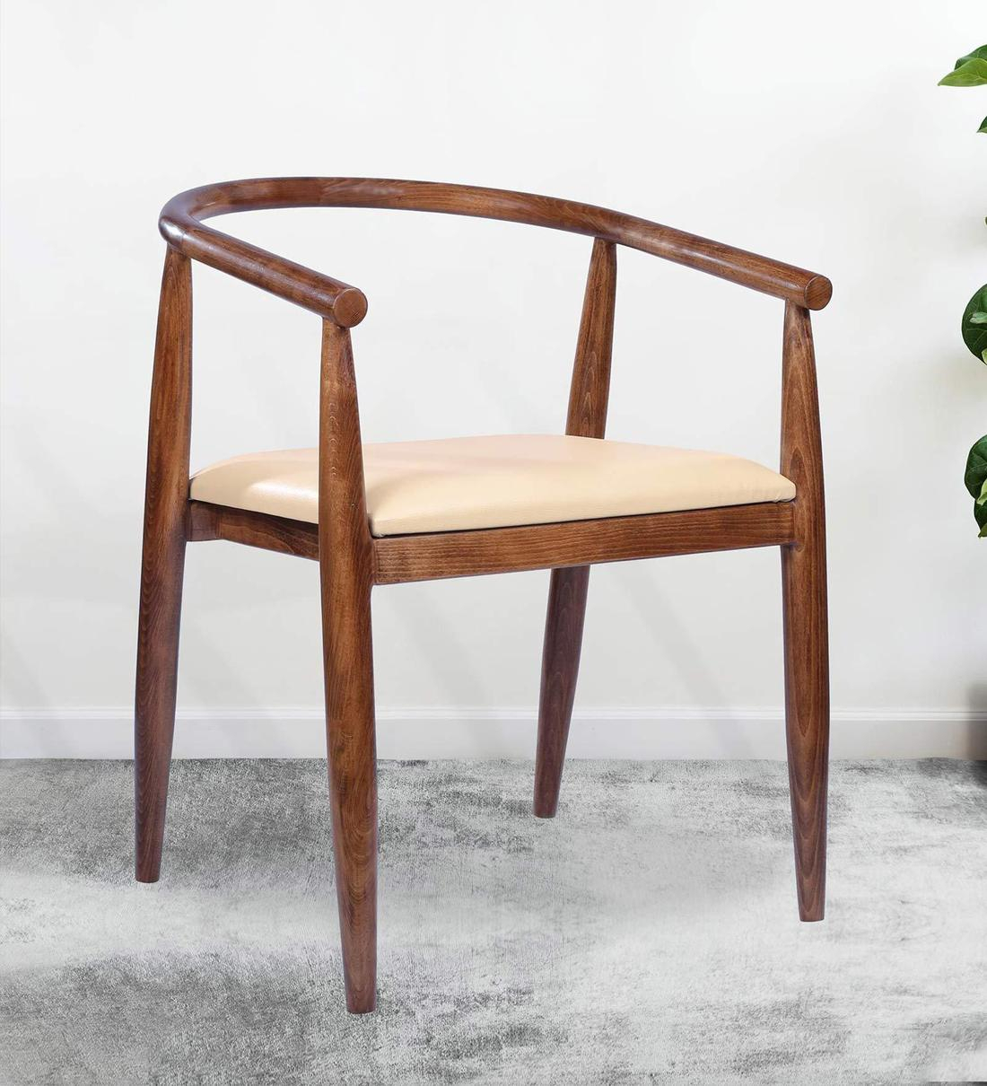 Umeo Solid Wood Armchair In Walnut Finish Within Walnut Solid Wood Garden Benches (View 19 of 25)