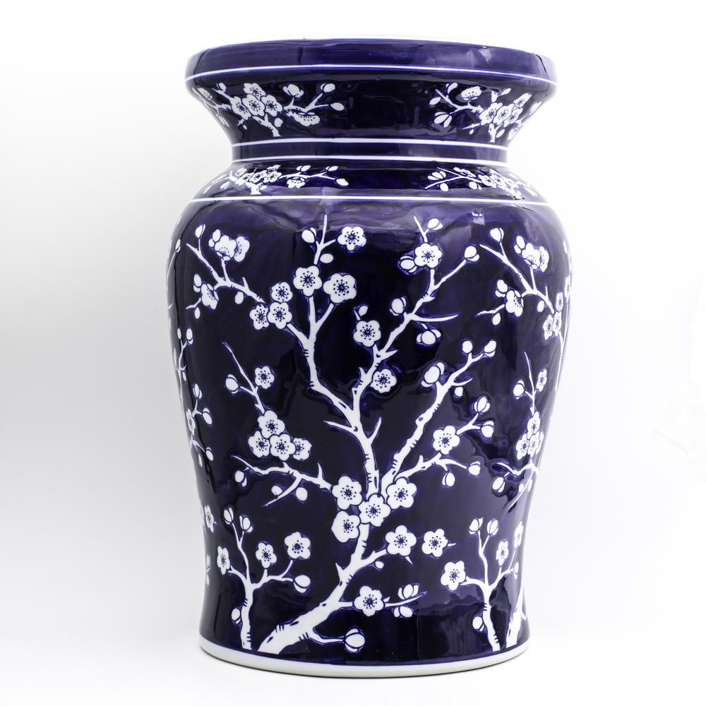 Unbranded Blue Garden Cobalt Cherry Blossom Podium Stool 32044 – The Home Depot Inside Williar Cherry Blossom Ceramic Garden Stools (View 4 of 25)