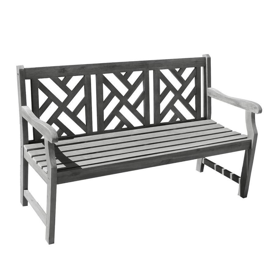 Vifah 57 In W X 36 In L Dining Bench Lowes In 2020 Pertaining To Elsner Acacia Garden Benches (View 15 of 25)