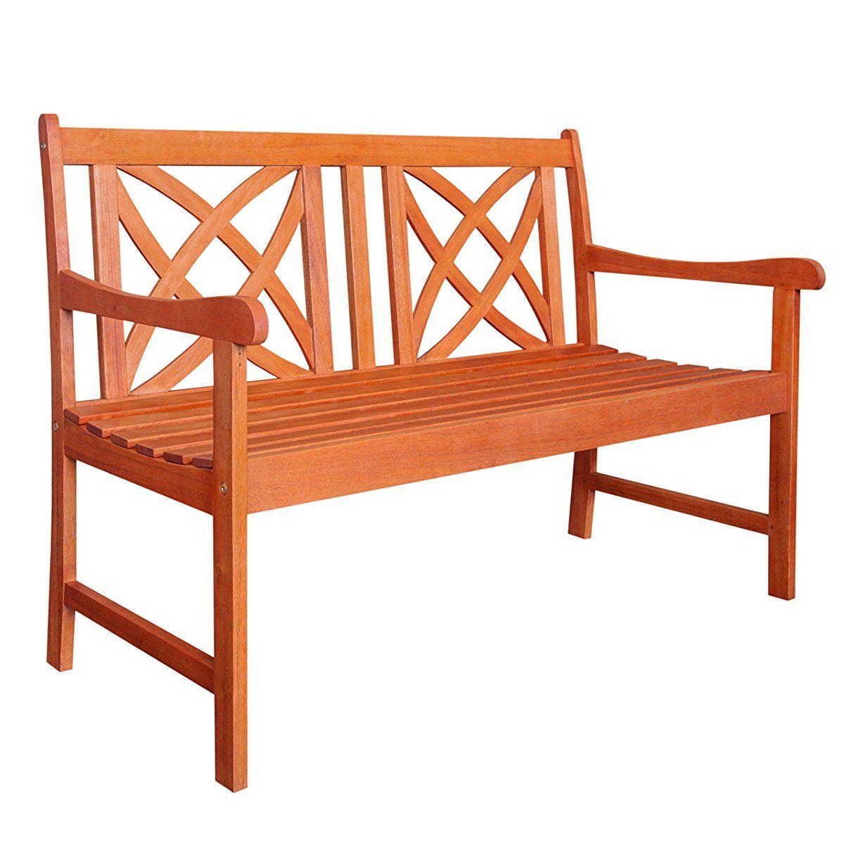 Vifah V1493 Outdoor Wood Garden Bench, 4 Feet | Wooden Regarding Alfon Wood Garden Benches (View 7 of 25)