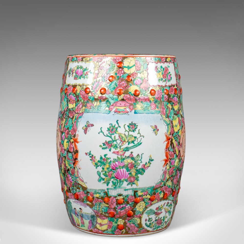 Vintage Ceramic Garden Stool, Chinese, Famile Rose Inside Williar Cherry Blossom Ceramic Garden Stools (View 11 of 25)