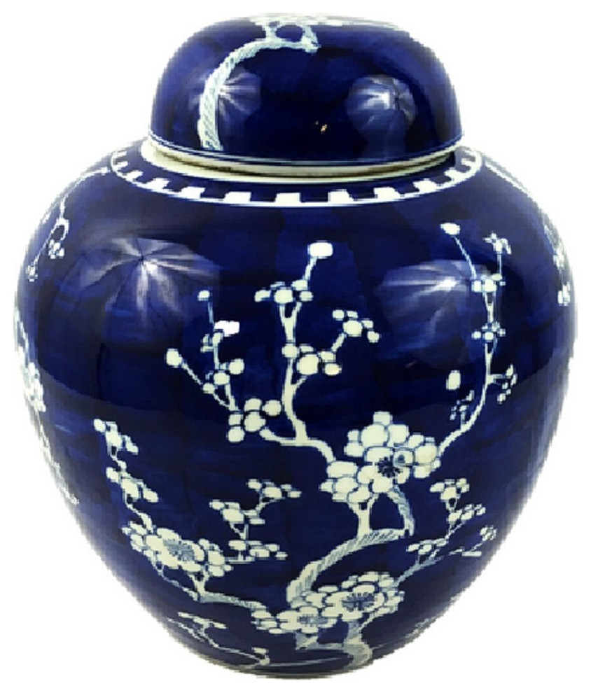 """Vintage Style Blue And White Cherry Blossom Rounded Ginger Jar 10"""" In Williar Cherry Blossom Ceramic Garden Stools (View 15 of 25)"""