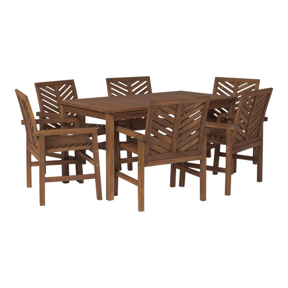 Walker Edison Furniture Company Chevron Dark Brown 7 Piece Wood Outdoor Patio Dining Set Hd8083 – The Home Depot For Skoog Chevron Wooden Storage Benches (View 23 of 25)